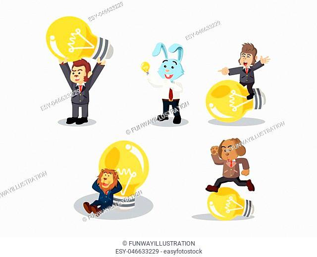 business animal with bulb cartoon set