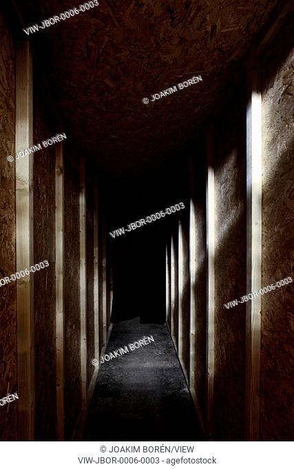 Mysterious chipboard corridor. Remembering Chernobyl Exhibition 04 JUNE - 26 JUNE 2016, London, United Kingdom. Architect: Spheron Architects, 2016