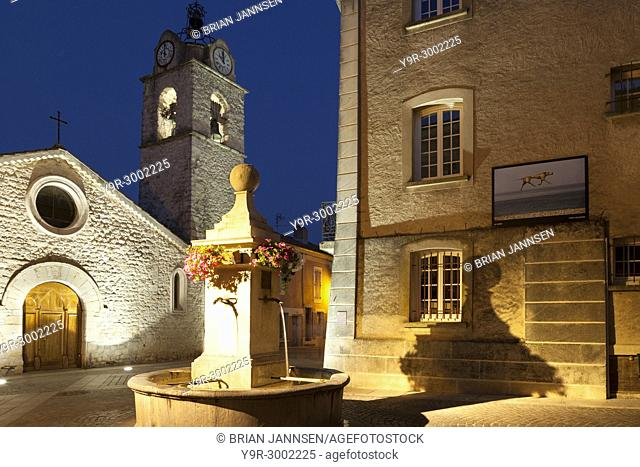 Fountain and Prebytere Church in Greoux-les-Bain, Provence France