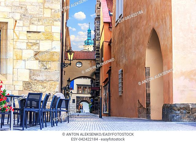 Street cafe in Old Town Square in front of the House at the stone bell, Prague, Czech Republic