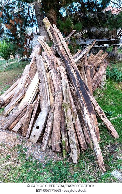 Stack of wood in Asturias, Spain
