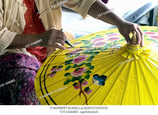 Asia. Thailand, Chiang Mai. Bo Sang village. Sunshades manufacturing