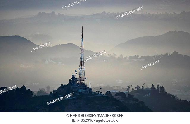 Hollywood Hills with transmission tower, Los Angeles, Los Angeles County, California, USA