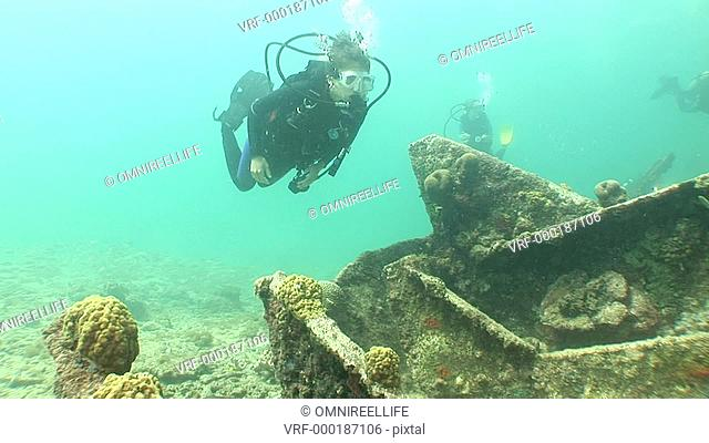 Teenage female scuba diver swimming over shipwreck with Striped Grunt Fish, Brain Coral and other scuba divers behind