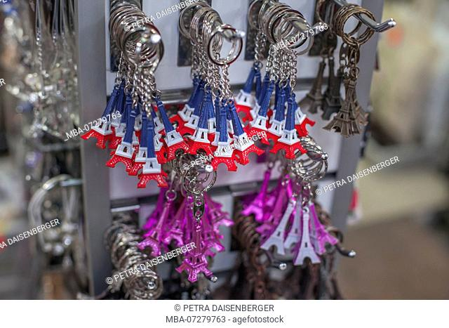 Keychain with the Paris Eiffel Tower in the colors of the tricolor