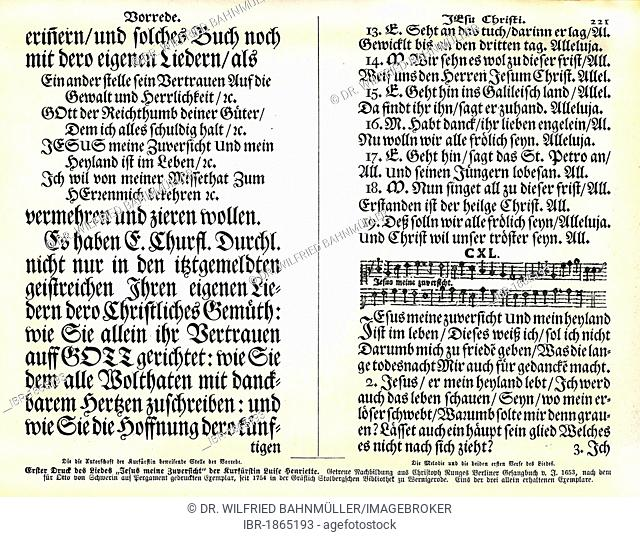 First print of the chant Jesus meine Zuversicht or Jesus my confidence by Prince Electress Luise Henritte 1653