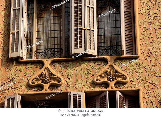 Windows with shutters, modernist building detail Barcelona, Catalonia, Spain