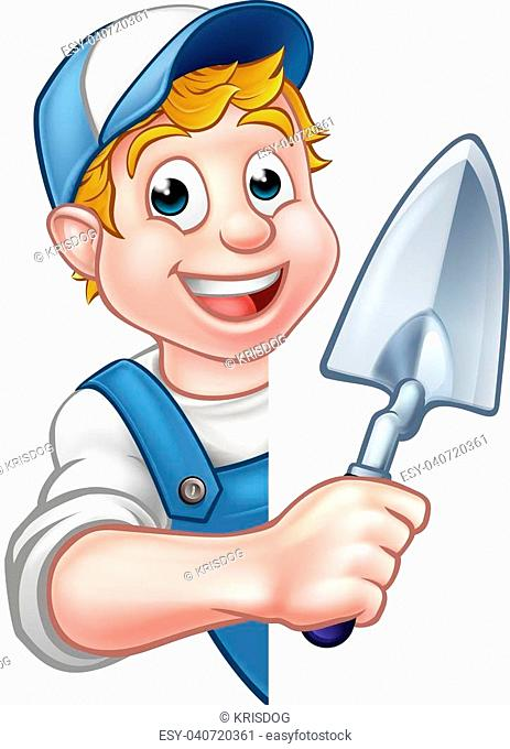A cartoon builder or bricklayer construction worker holding a masons brick laying trowel hand tool leaning around sign
