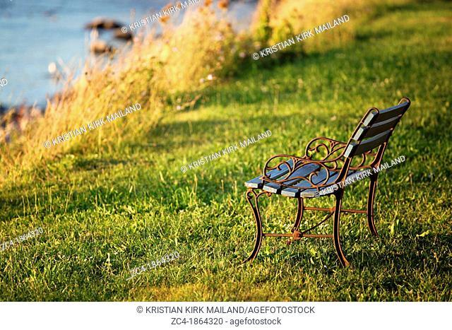 Antique bench on grass at seaside, calmness. Denmark. Scandinavia