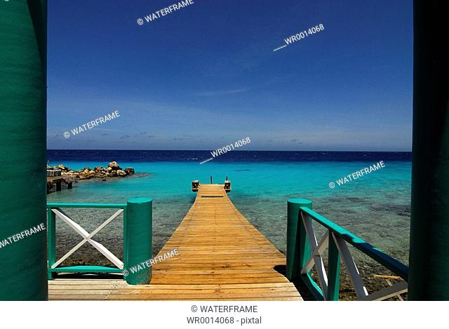 Jetty near Beach, Caribbean Sea, Netherland Antilles, Curacao