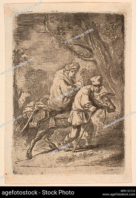 The Flight into Egypt: Small Plate. Artist: Claude Henri Watelet (French, Paris 1718-1786 Paris); Artist: After Rembrandt (Rembrandt van Rijn) (Dutch