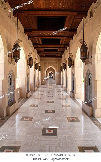 Colonade, wooden ceiling, arch, Sultan Qaboos Grand Mosque, Muscat capital, Sultanate of Oman, gulf states, Arabic Peninsula, Middle East, Asia