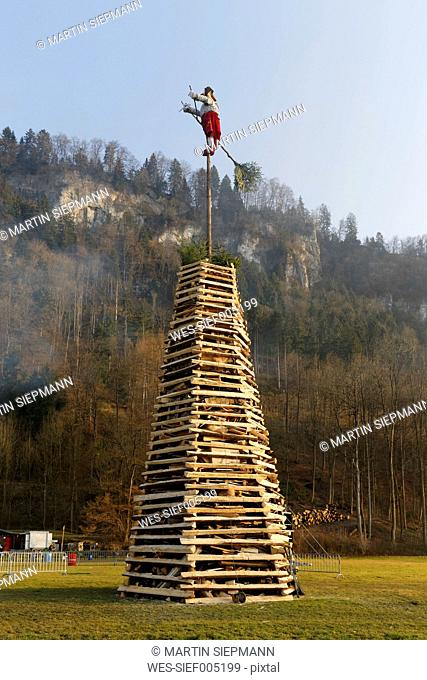Austria, Vorarlberg, Rhine Valley, Hohenems, wood tower with witch for bonfire