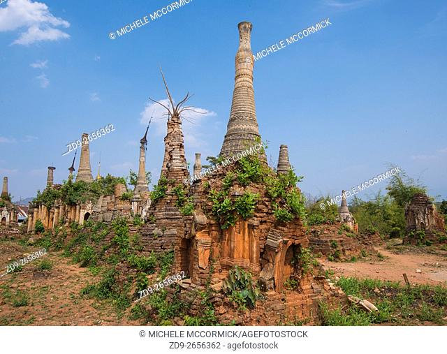 Hundreds of pagodas, ancient and new, cover a hillside at Idein Lake