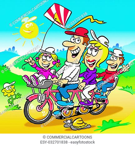 Cartoon of happy family riding a tandem bicycle in the countryside