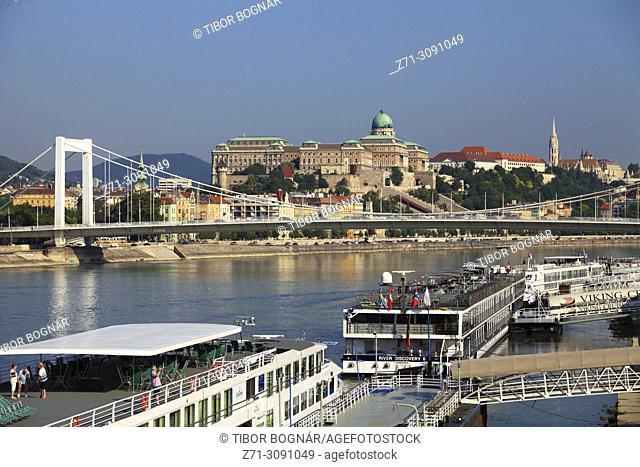 Hungary, Budapest, Castle District, skyline, Elisabeth Bridge, Danube River, cruise ships,