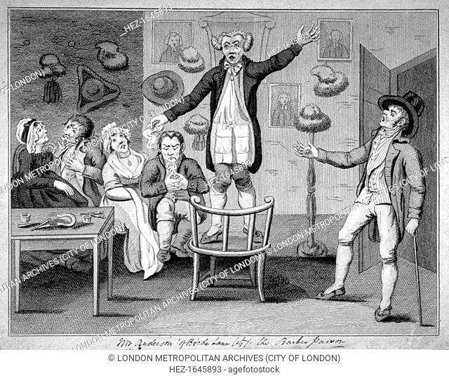'Mr Anderson (of Bride Lane, City) the barber parson', 1780. A barber stands on a chair evangelising his customers. Two of his customers chat regardless