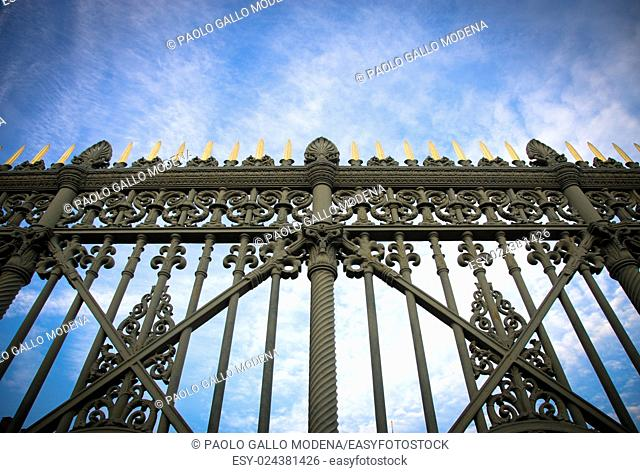 Italy - Detail of the original gate at the entrance of the Turin Royal Palace