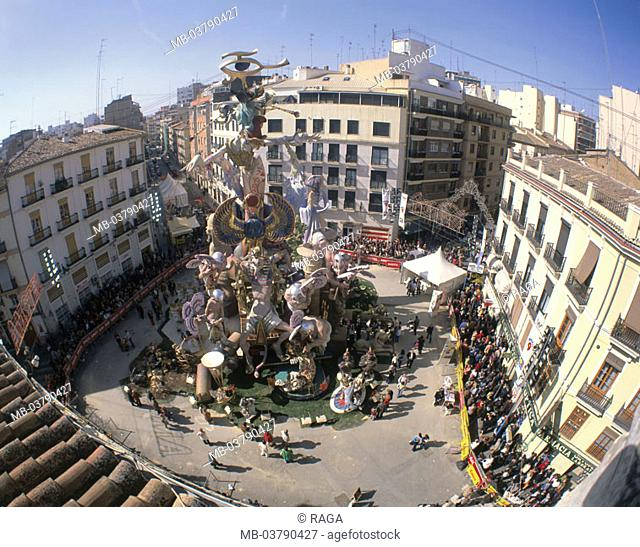 Spain, Valencia, read Fallas festival, Place, artwork, Figurengruppe, Spectators Solidly, Fiesta, in the spring party, market place, figures, art, man-made