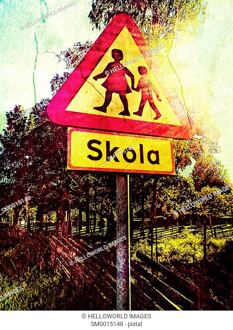 Swedish road sign beware of children, school nearby, Sweden, Scandinavia