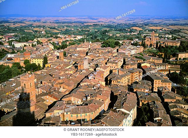 An ariel view of Siena, Tuscany, Italy