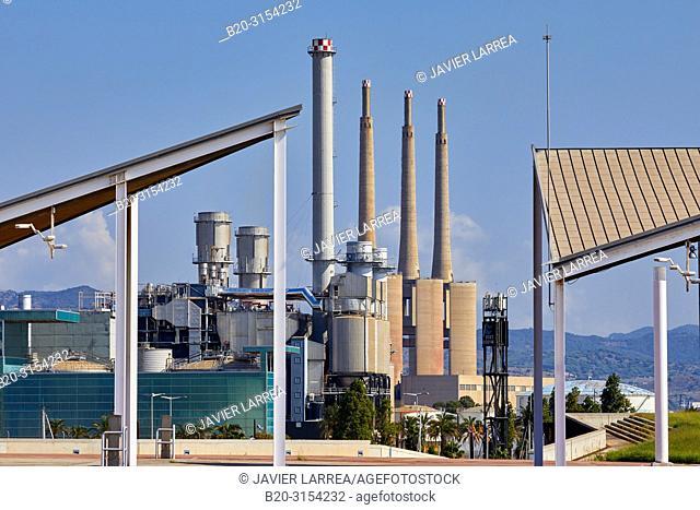 Power plant towers. Sant Adrià del Besòs, Forum, Barcelona, Catalunya, Spain, Europe