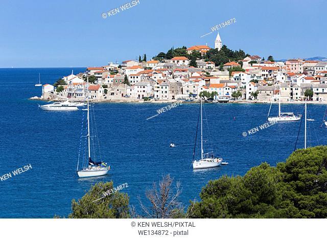 Primosten, Sibenik-Knin County, Croatia. Popular resort town on the Adriatic coastline