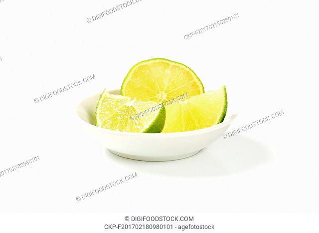 fresh lime slices in bowl