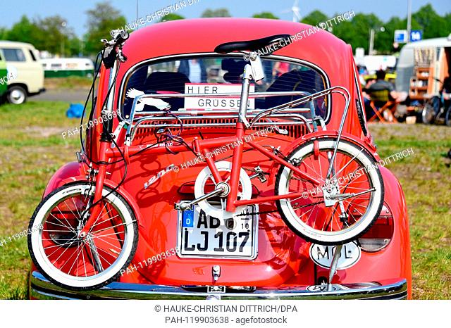 A Volkswagen Beetle with a bike on it at the Maikaefertreffen (May Beetle Meeting) in Hanover (Germany), 01 May 2019. Fans and owners of Beetles and VW...