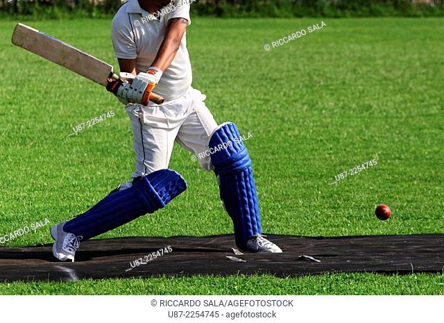 Italy, Lombardy, Cricket Sports Batsman Batting