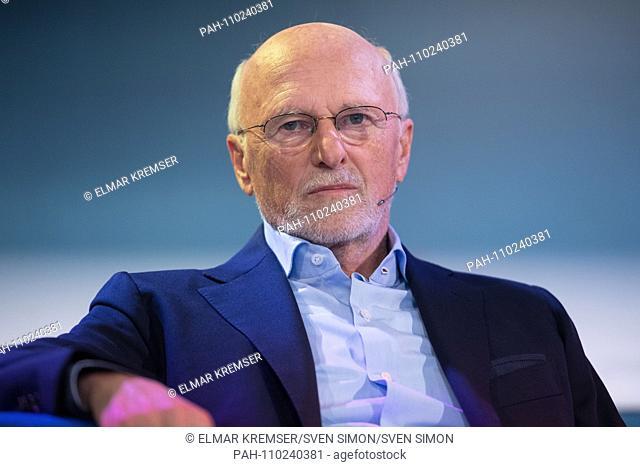 "Dirk ROSSMANN, entrepreneur, author, bust portrait, during the TV show """"Das blaue Sofa"""" at the Frankfurt Book Fair 2018 on 10.10"