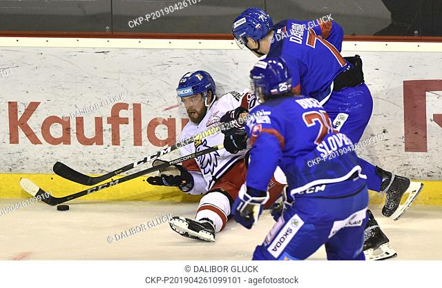 L-R Hynek Zohorna (CZE), Marek Daloga (up) and Samuel Bucek (both SVK) in action during the Euro Hockey Challenge match Slovakia vs Czech Republic in Trencin