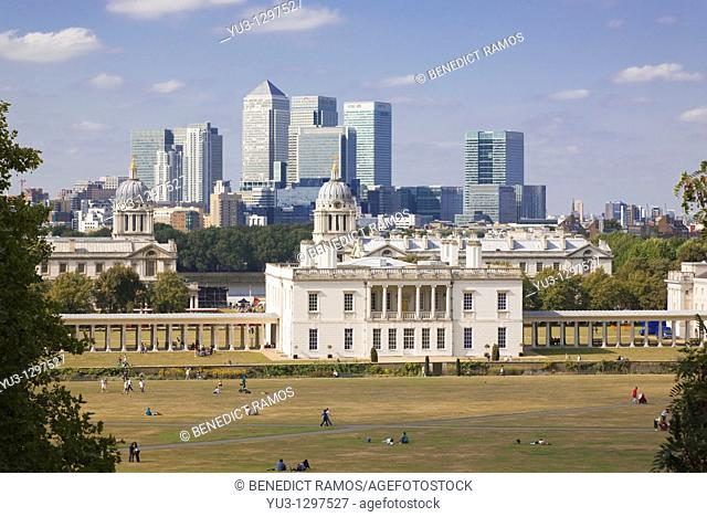 View of the Queen's House and Canary Wharf, London, England, UK