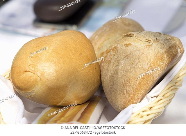 Basket with bread Italian restaurant