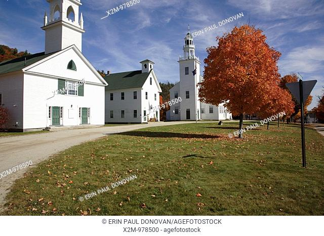 The Congregational Church 1840, School House1883, and Town Hall1787 are located in the Washington Common in Washington, New Hampshire, USA