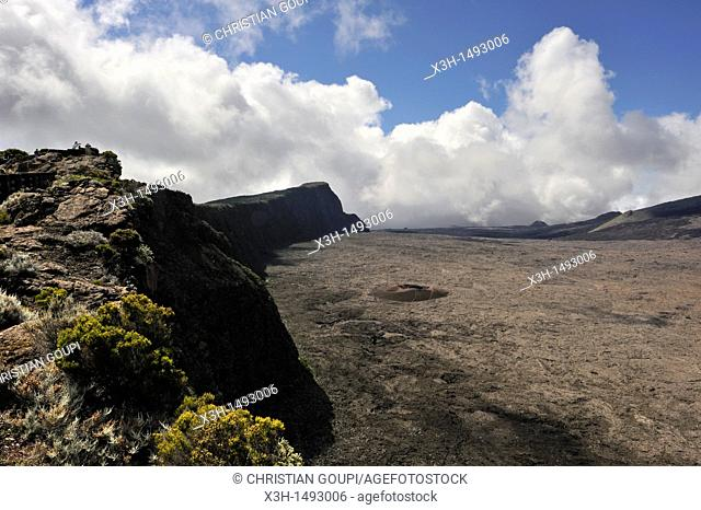 view on the caldera Enclos Fouque from the Rempart de Bellecombe Reunion island, overseas departement of France, Indian Ocean