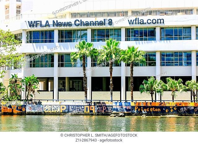 The WFLA News Channel 8 building on the Hillsboro River in downtown Tampa, FL