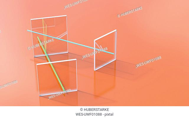 3D rendering, Glass squares connected through colorful lines