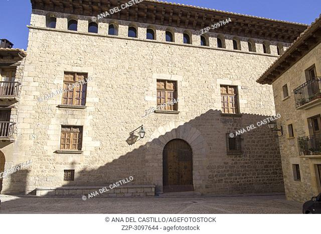 Medieval architecture Old palace in Mirambel village one of the most beautiful villages in Spain, Maestrazgo county Teruel Aragon Spain