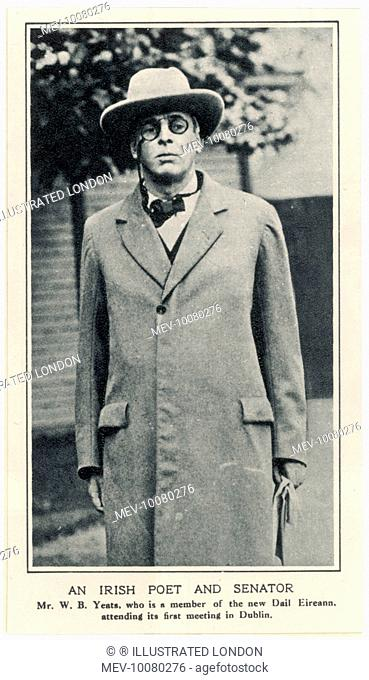 WILLIAM BUTLER YEATS Irish poet and senator, shown here attending the first meeting of the new Dail Eireann in Dublin