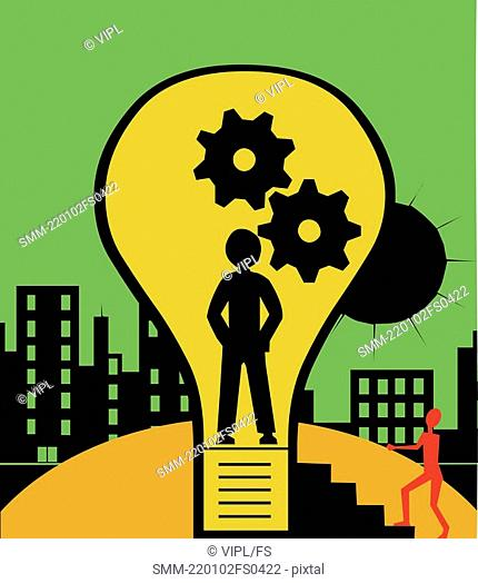 Light bulb with a human figures and gears