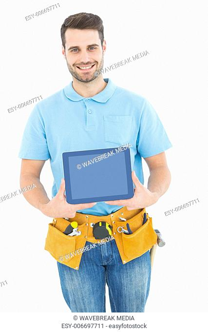 Construction worker showing blank screen on digital tablet