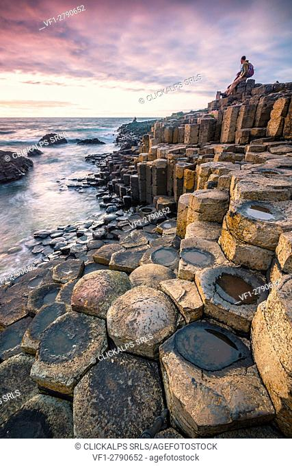 Giant's Causeway, County Antrim, Ulster region, northern Ireland, United Kingdom. Iconic basalt columns