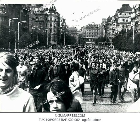 Aug. 08, 1969 - Scene in Prague on Anniversary of the Soviet Invasion.: Czechoslovakia's Communist regime introduced a set of emergency laws increasing the...