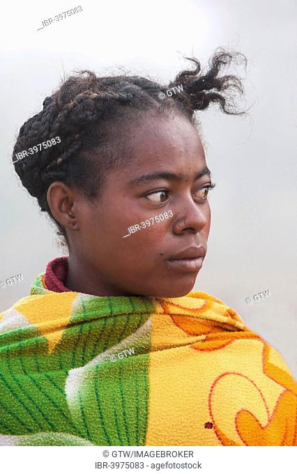 Malagasy woman wrapped up in a blanket, Morondava, Toliara province, Madagascar