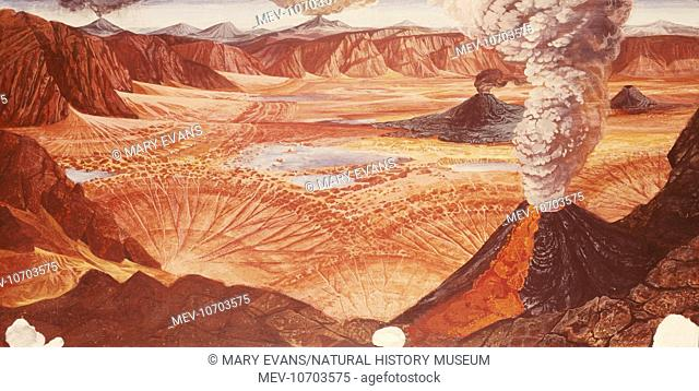 An impression by Bridget Kempster of the Old Red Sandstone desert of the Devonian period (417 to 354 million years ago)