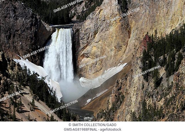 The Lower Falls of the Yellowstone River, Yellowstone National Park, Wyoming, June, 2013. Image courtesy Jim Peaco/Yellowstone National Park