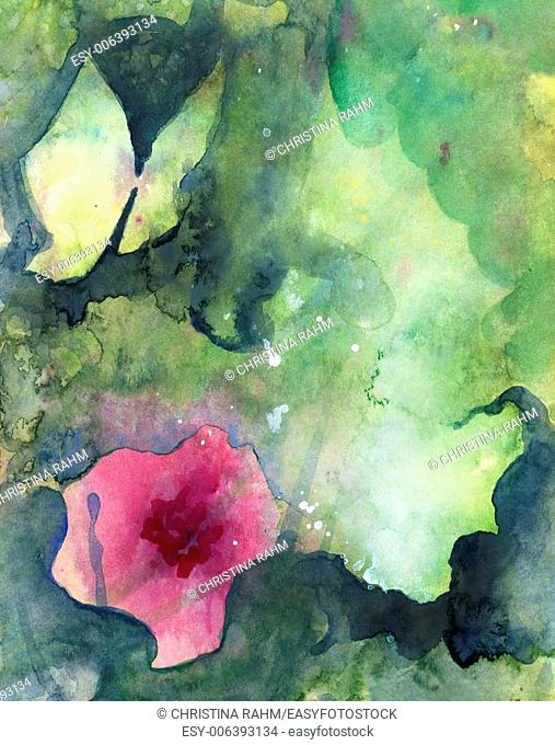 Abstract painted original watercolor background texture with butterfly, flower and atmospheric space
