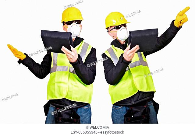 Contractor with Tablet Computer Isolated on White. Two Different Poses