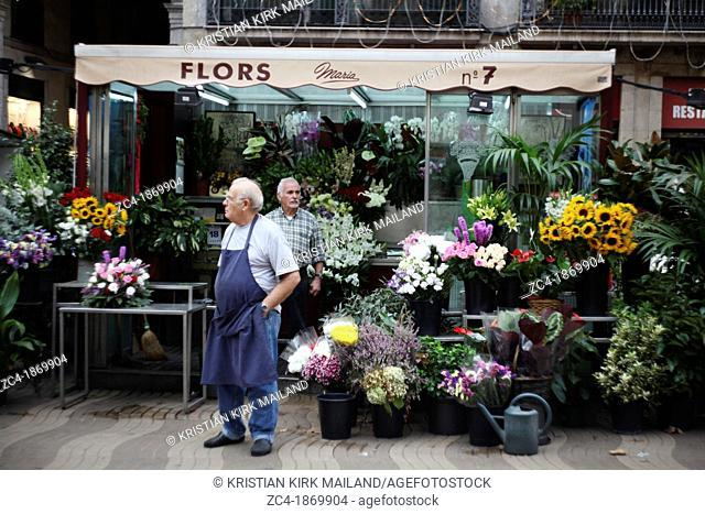 Flourist selling flowers at la Rambla, Catalonia, Spain